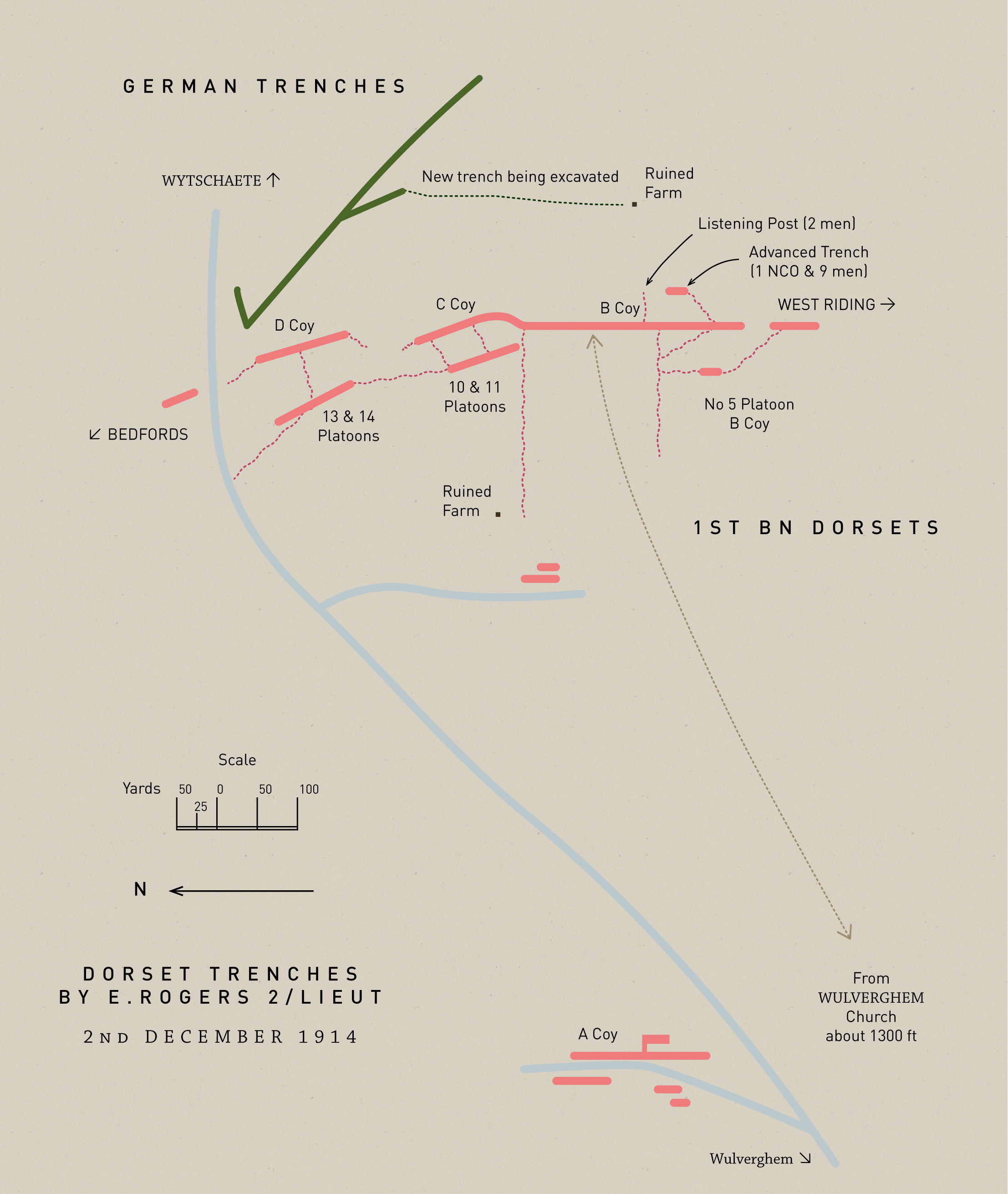 A map of the Dorsets' trenches